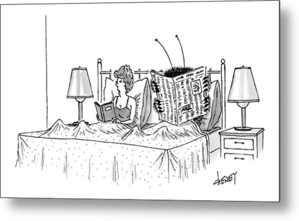 Woman And A Large Insect Read In Bed Metal Print