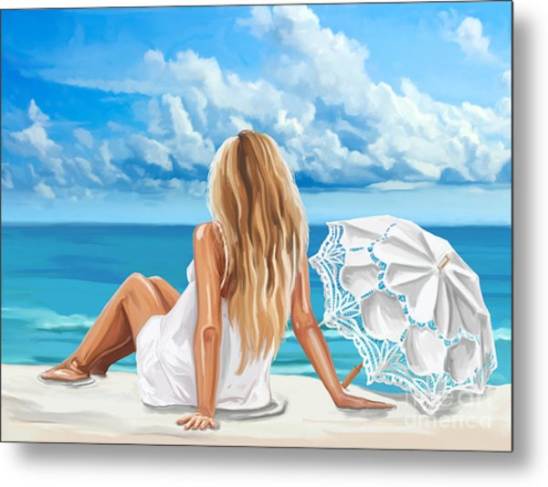 Woman At The Beach Metal Print