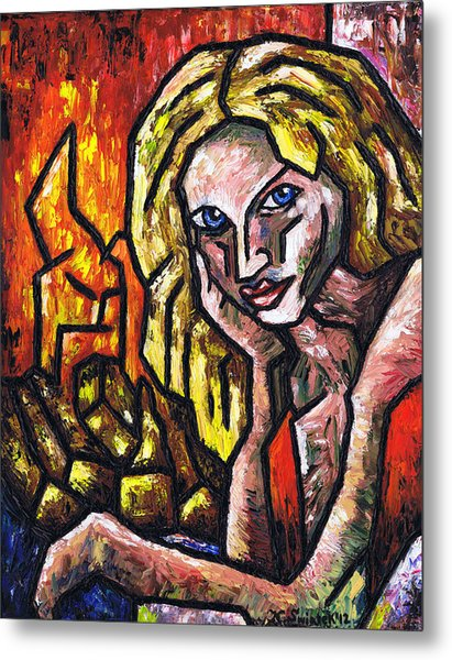 Woman By The Fire Metal Print