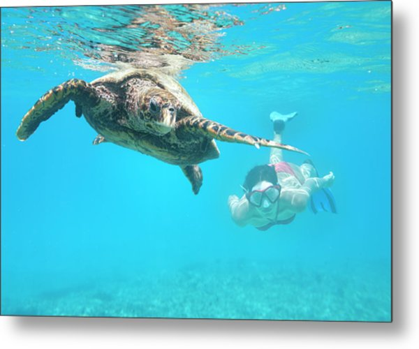 Woman Diving With A Hawksbill Sea Metal Print by 4fr