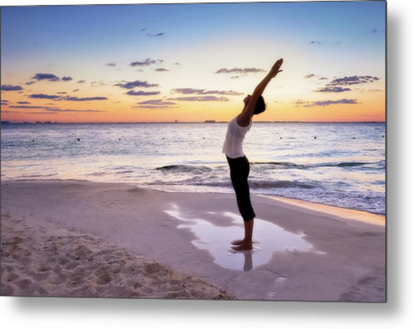 Woman Doing Yoga Poses On The Beach Metal Print