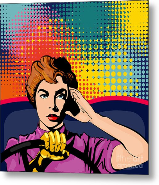 Woman Driving A Car Pop Art Vector Metal Print