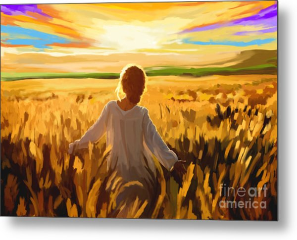 Woman In A Wheat Field Metal Print