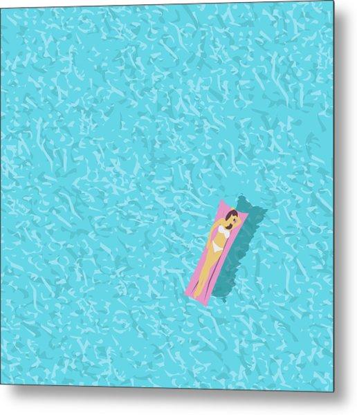 Woman In Bikini, Swimming Pool Top Metal Print