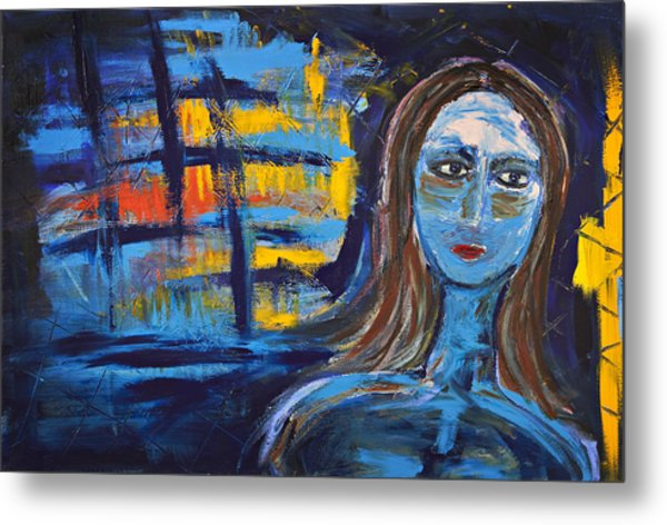 Woman In Blue Abstract Metal Print by Maggis Art