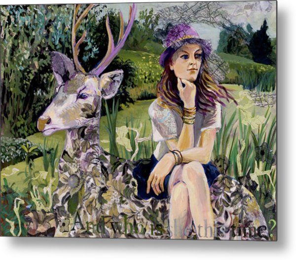 Woman In Hat Dreams With Stag Metal Print