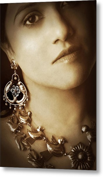 Woman In Mexican Silver Jewelry Metal Print
