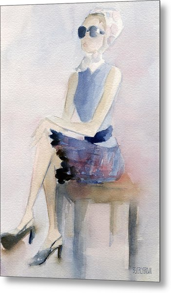 Woman In Plaid Skirt And Big Sunglasses Fashion Illustration Art Print Metal Print