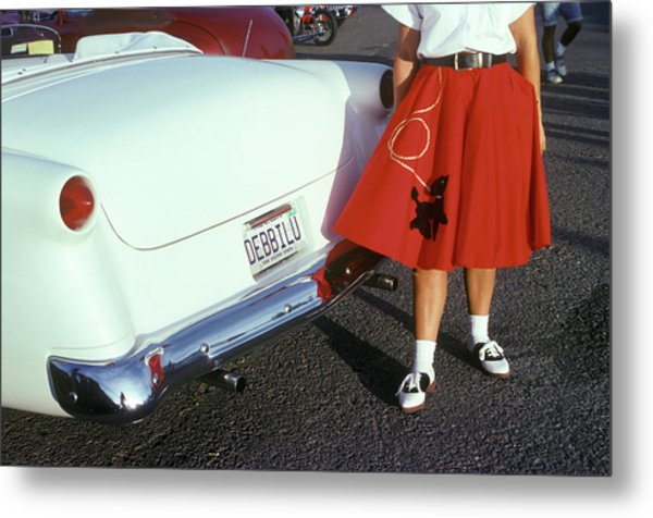 Woman In Red Poodle Skirt And Saddle Metal Print