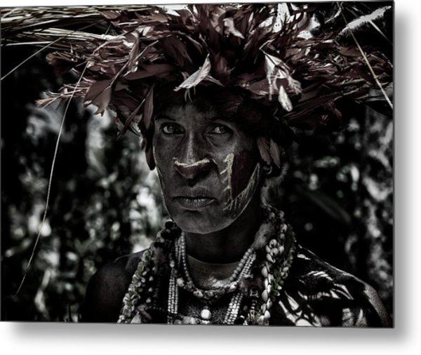 Woman In The Sing-sing Festival Of Mt Hagen - Papua New Guinea Metal Print