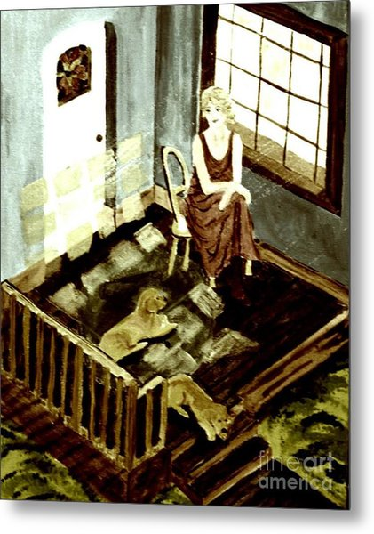 Woman In The Window Metal Print