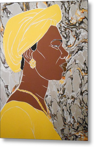 Woman In Yellow Metal Print