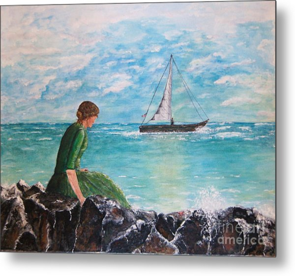 Woman Looking Out To Sea Metal Print