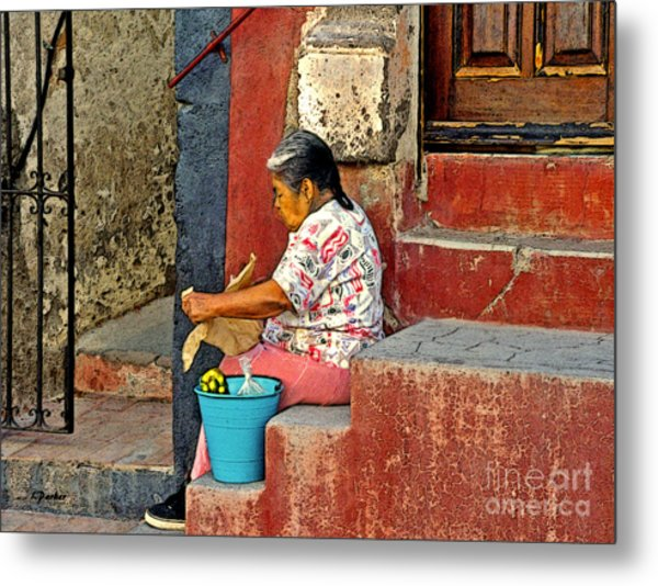 Woman Of Colonial Mexico Metal Print by Linda  Parker