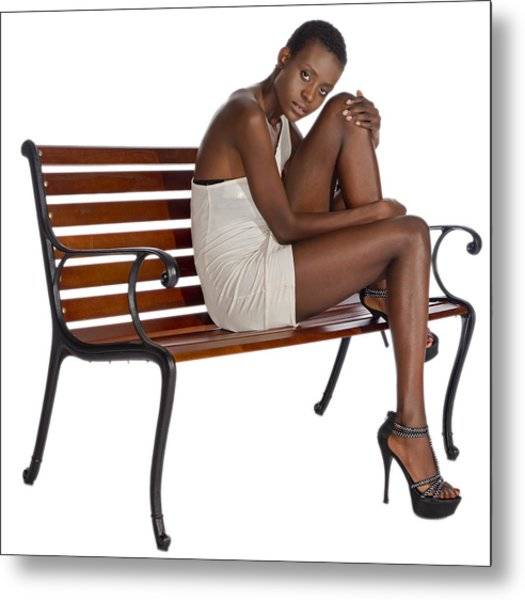 Woman On A Park Bench Metal Print
