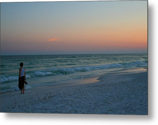 Woman On Beach At Dusk Metal Print