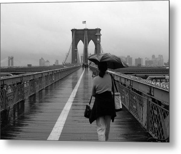 Woman On Brooklyn Bridge Metal Print