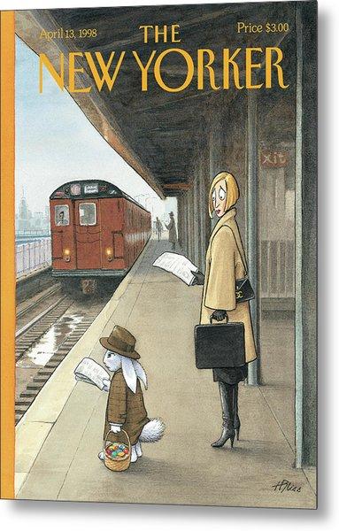 Woman On Train Platform Looking At Easter Bunny Metal Print