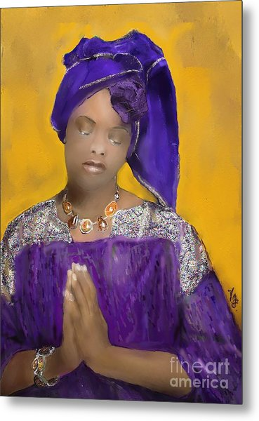 Woman Praying Metal Print