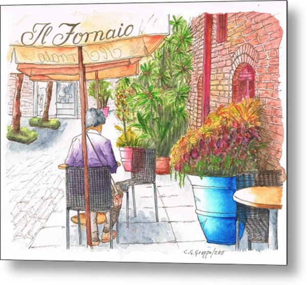 Woman Reading A Newspaper In Il Fornaio In Pasadena, California Metal Print