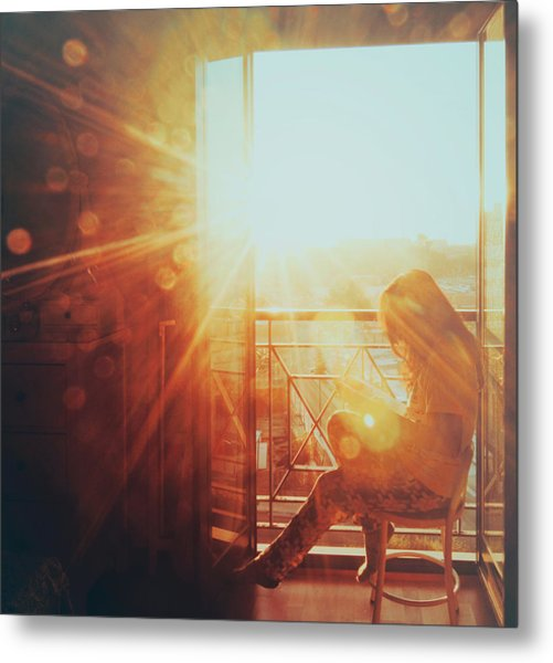 Woman Reading In The Morning Sun Metal Print by Julia Davila-Lampe