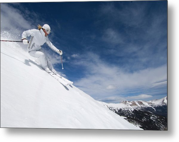 Woman Skiing At Loveland, Colorado Metal Print