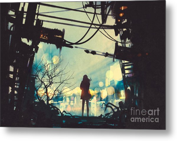 Woman Standing Among Old Ruins Looking Metal Print