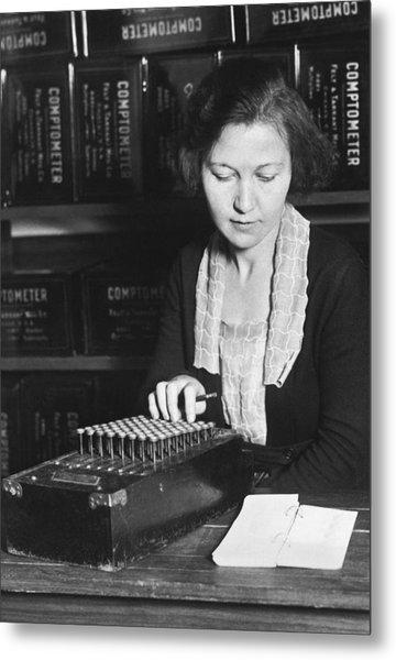 Woman Using A Comptometer Metal Print