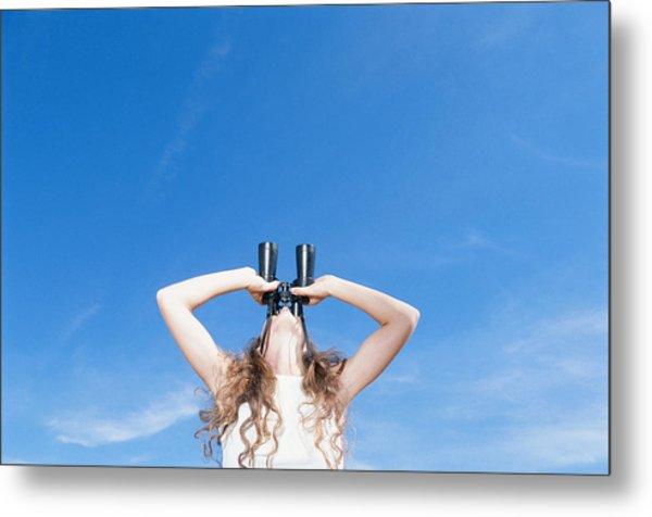 Woman Using Binocular, Looking Up, Low Angle View Metal Print by David De Lossy