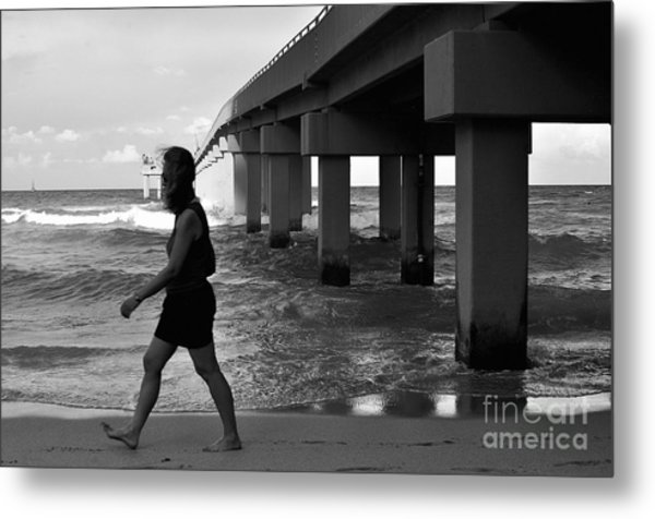Woman Walking Metal Print by Andres LaBrada