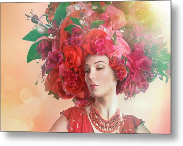 Woman Wearing A Big Red Hat Made Of Metal Print