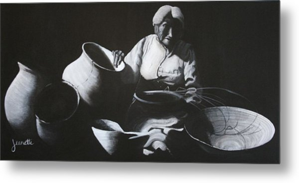 Woman Weaving A Basket Metal Print