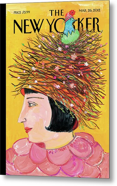 Woman With A Hat That Looks Like A Birds Nest Metal Print