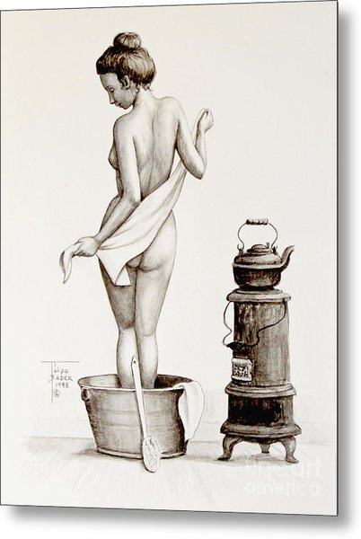 Woman With A Towel 1890s Metal Print