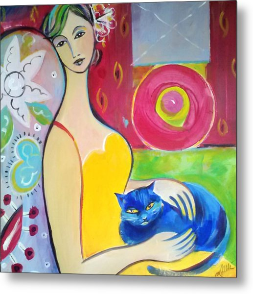 Woman With Blue Cat Metal Print by Marlene LAbbe
