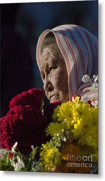 Woman With Flowers - Day Of The Dead Mexico Metal Print