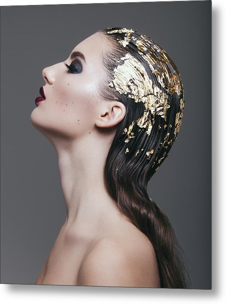 Woman With Foil Hairstyle Metal Print