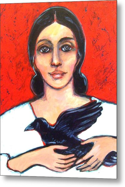 Woman With Raven Metal Print by Carol Suzanne Niebuhr