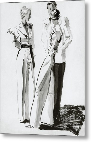 Women And A Man In Suits Metal Print