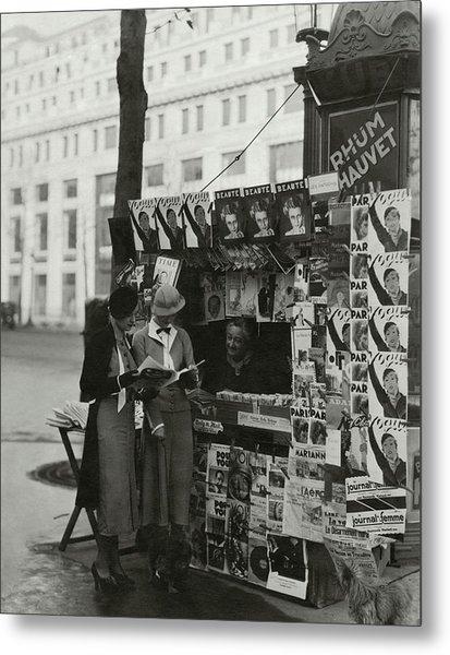 Women At A Newsstand In Paris Metal Print