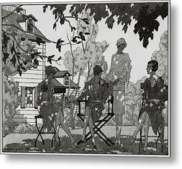 Women At The Woman's National Golf Club On Long Metal Print by Pierre Mourgue