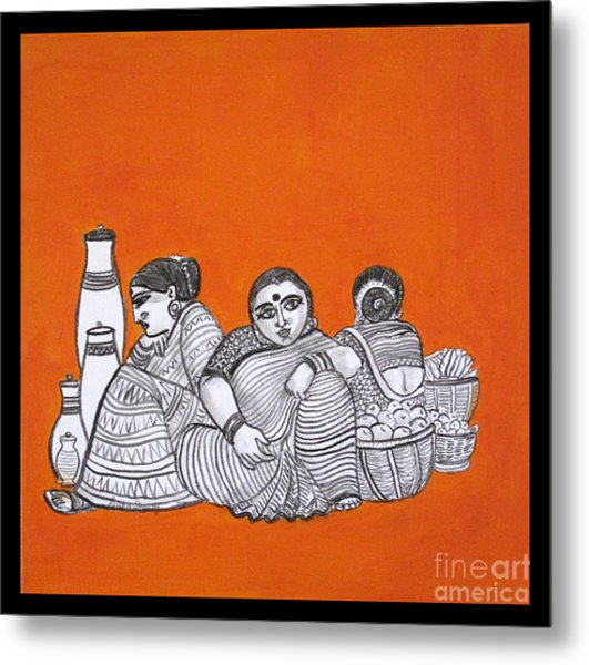Women Vendors In Market Metal Print
