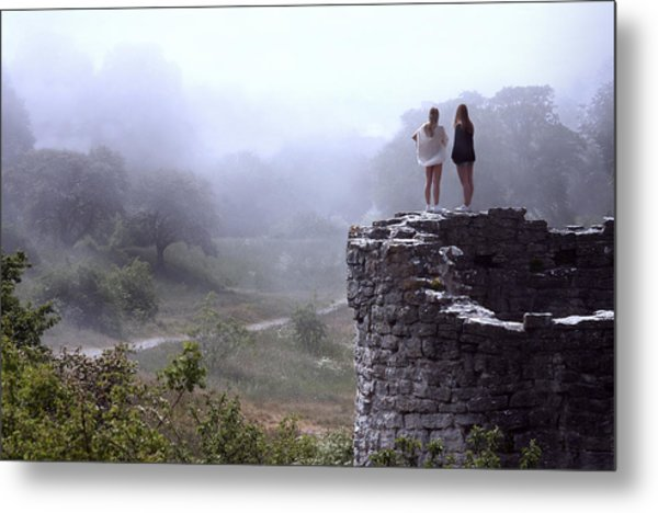 Women Overlooking Bright Foggy Valley Metal Print