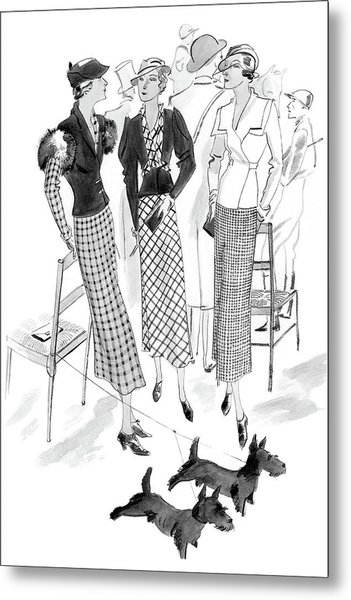 Women Wearing Checked Suits Metal Print by Jean Pages
