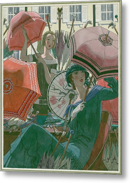Women With Parasols Metal Print by Pierre Brissaud