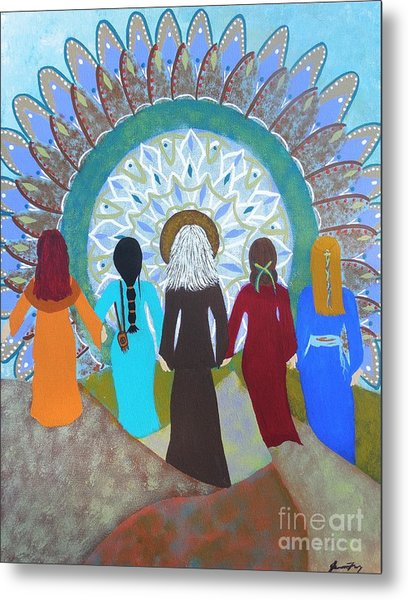 Women's Circle Mandala Metal Print