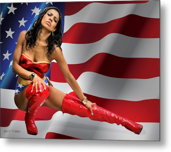 Flag Day With Wonder Warrior Metal Print