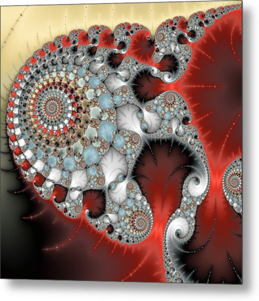 Wonderful Abstract Fractal Spirals Red Grey Yellow And Light Blue Metal Print