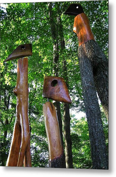 Wood Sculptures Metal Print