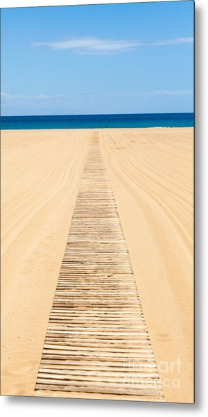 Wood Slat Wheelchair Beach Access Ramp Metal Print